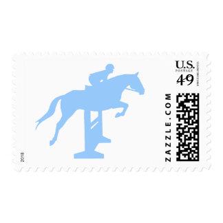 Hunter Jumper Horse & Rider (light blue) Postage Stamps