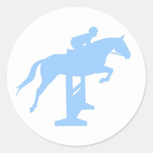 Hunter Jumper Horse & Rider (light blue) Classic Round Sticker