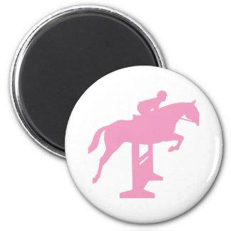 Hunter Jumper Horse & Rider (pink) 2 Inch Round Magnet