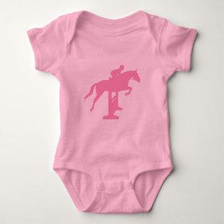 Hunter Jumper Horse & Rider (pink) Baby Bodysuit
