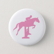 Hunter Jumper Horse & Rider (pink) Button