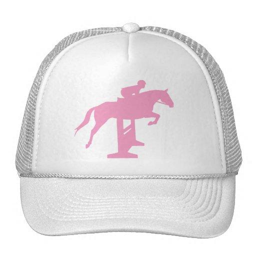 Hunter Jumper Horse & Rider (pink) Mesh Hats