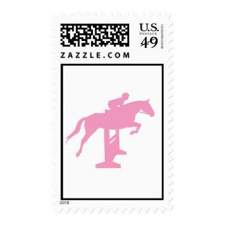 Hunter Jumper Horse & Rider (pink) Postage Stamps