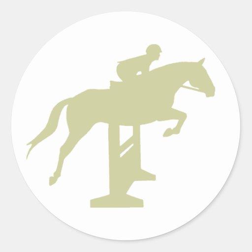 Hunter Jumper Horse & Rider (sage green) Gifts Round Stickers
