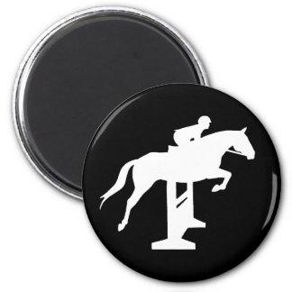 Hunter Jumper Horse & Rider (white) 2 Inch Round Magnet