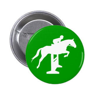 Hunter Jumper Horse & Rider (white) Pinback Button