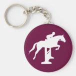 Hunter Jumper Horse & Rider (white) Basic Round Button Keychain