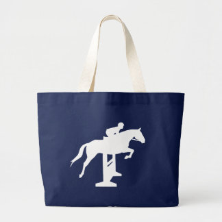 Hunter Jumper Horse & Rider (white) Large Tote Bag