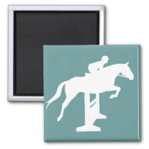 Hunter Jumper Horse & Rider (white) Magnet