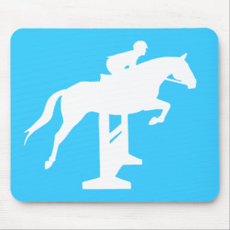 Hunter Jumper Horse & Rider (white) Mouse Pad
