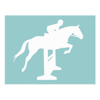 Hunter Jumper Horse & Rider (white) Postcard