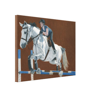 Hunter/Jumper - Horse & Rider  Wrapped Canvas