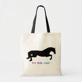 Hunter Jumper Horse Silhouette  - Fly. Run. Jump. Tote Bag
