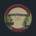 "Hunter Lumberjack Forest Woodland Baby Boy Shower Paper Plate<br><div class=""desc"">A wonderful baby boy shower idea for your favorite huntsman, outdoorsman or lumberjack family. With a chalkboard banner and silhouette woodland animals - moose and deer with antlers. Your own little forest of trees and a woodgrain background. A red and black buffalo plaid border finishes off the design theme. A...</div>"