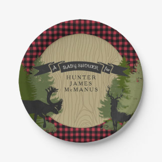 Hunter Lumberjack Forest Woodland Baby Boy Shower Paper Plate