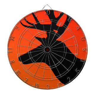 Hunter Orange Deer Elk Silhouette Design Dartboard