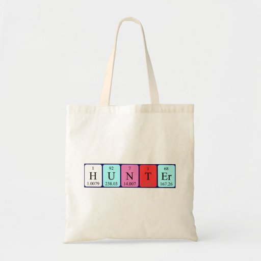 Hunter periodic table name tote bag