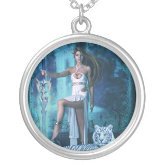 Hunter & Pet Tiger - Night (Necklace/Pendant) Silver Plated Necklace