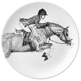 Hunter Pony Pointillism Porcelain Plates