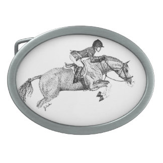 Hunter Pony Pointillism Oval Belt Buckle