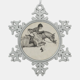 Hunter Pony Pointillism Snowflake Pewter Christmas Ornament