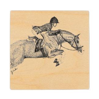 Hunter Pony Pointillism Wooden Coaster