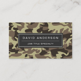 hunter stylish military camouflage camo pattern business card - Military Business Cards