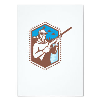 "Hunter With Shotgun Rifle Duck Shooting Retro 4.5"" X 6.25"" Invitation Card"