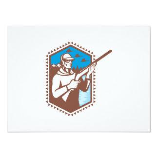 Hunter With Shotgun Rifle Duck Shooting Retro Personalized Invitations
