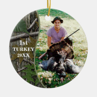 Hunter Woodland Camo Hunting Photo Ceramic Ornament