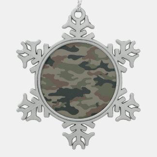 Hunters Camouflage Christmas Snowflake Decor Snowflake Pewter Christmas Ornament