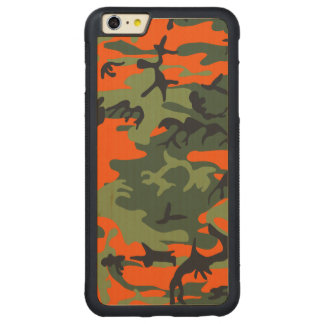 Hunters Camouflage Pattern Carved Maple iPhone 6 Plus Bumper Case