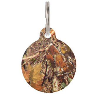 Hunter's Fall Nature Camo Camouflage Painting Pet Name Tag