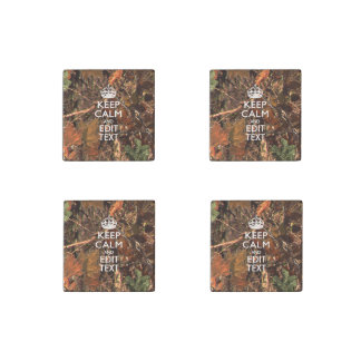 Hunter's Fall Nature Camouflage Keep Calm Text Stone Magnet