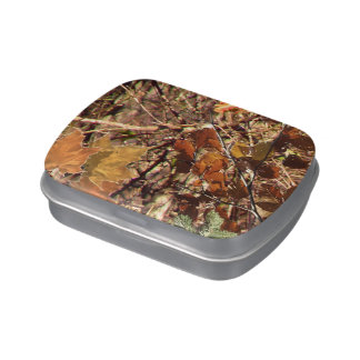 Hunter's Fall Nature Camouflage Painting Decor Jelly Belly Tin