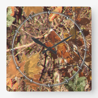 Hunter's Fall Nature Camouflage Painting Decor Square Wall Clock