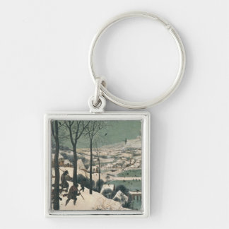 Hunters in the Snow - january, 1565 Silver-Colored Square Keychain