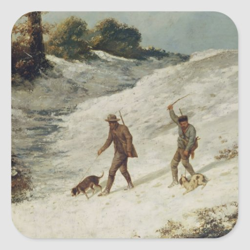 Hunters in the Snow or The Poachers Square Sticker