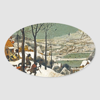 Hunters in the Snow Oval Sticker