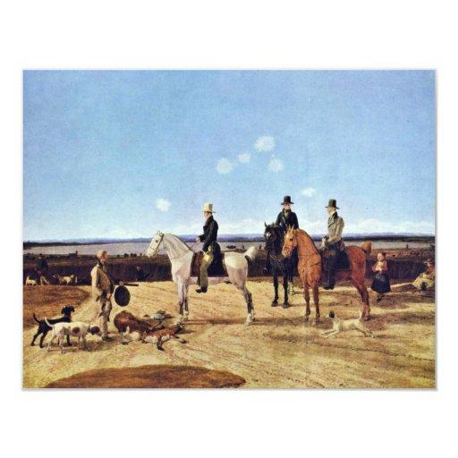 Hunters On Horseback In Upper Bavarian Landscape 4.25x5.5 Paper Invitation Card