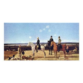 Hunters On Horseback In Upper Bavarian Landscape Customized Photo Card