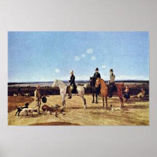 Hunters On Horseback In Upper Bavarian Landscape Posters