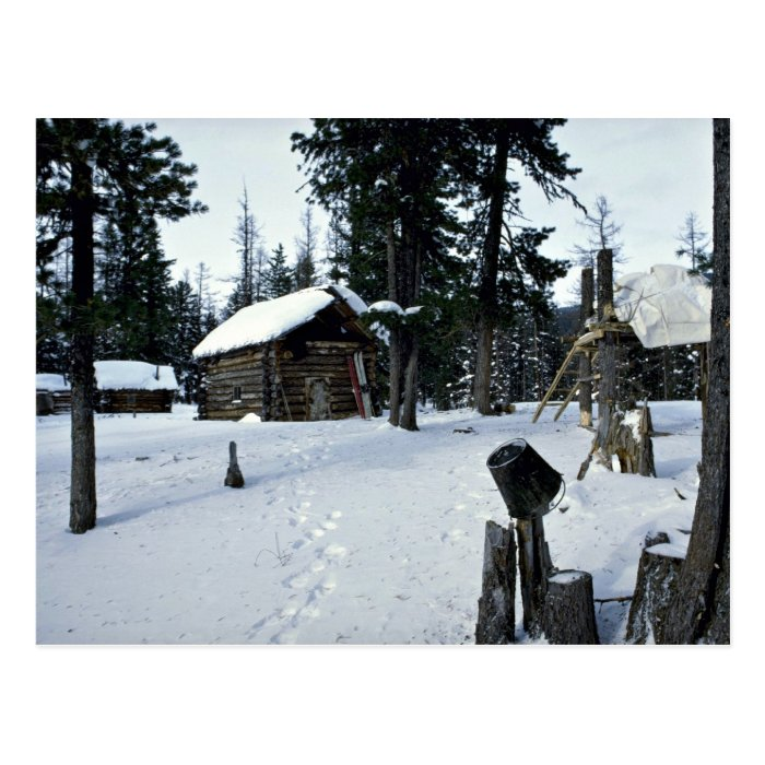 Hunter's shelter, Siberia Winter Postcard
