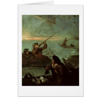 Hunters Shooting at Ducks (oil on canvas) Card