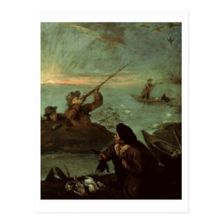 Hunters Shooting at Ducks (oil on canvas) Postcard