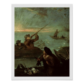 Hunters Shooting at Ducks (oil on canvas) Poster