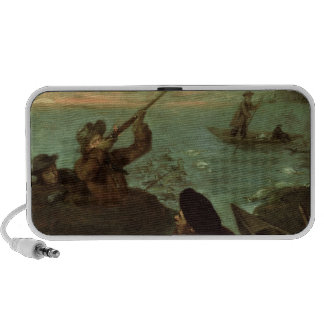 Hunters Shooting at Ducks (oil on canvas) Portable Speakers