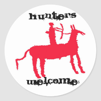 Hunters Welcome Classic Round Sticker