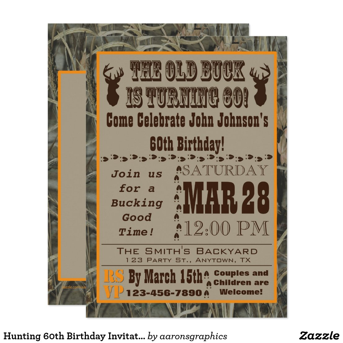 Hunting 60th Birthday Invitation with Camo