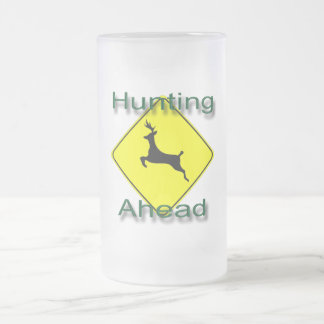 Hunting Ahead  green Frosted Glass Beer Mug